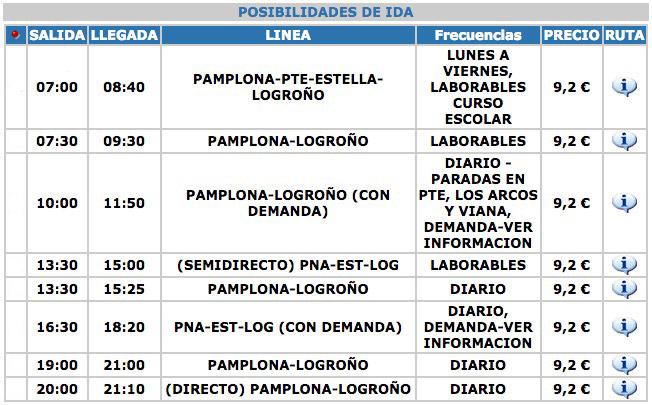 Horarios Autobuses entre Pamplona y Logroño